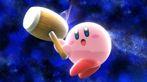 Kirby in the new stage.